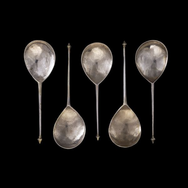 Silver spoons. Medieval, 14th century AD, found at Abberley, Worcestershire, England.