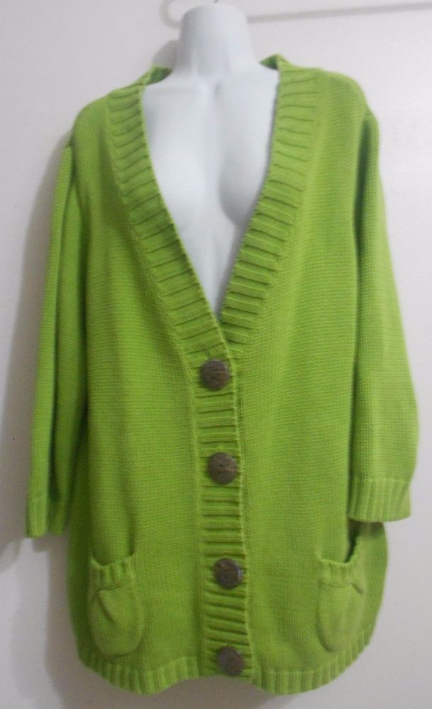 Chico's Size 3 3x Apple Green Sweater Cardigan Plus Size ...