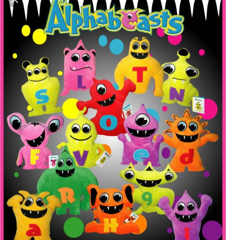 Alphabeasts educational soft Plush Kids toys..two sided many colors and letters #Alphabeasts