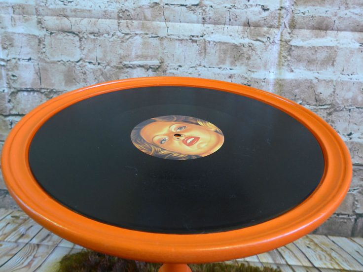 Upcycled Funky Vinyl Record Side or Occasional Table in Orange