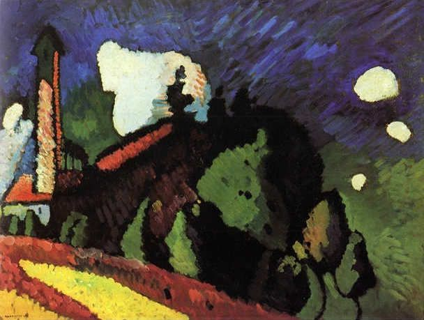1908 Murnau. Landscape with a Tower oil on canvas 75.5 x 99.5 cm Wassily Kandinsky