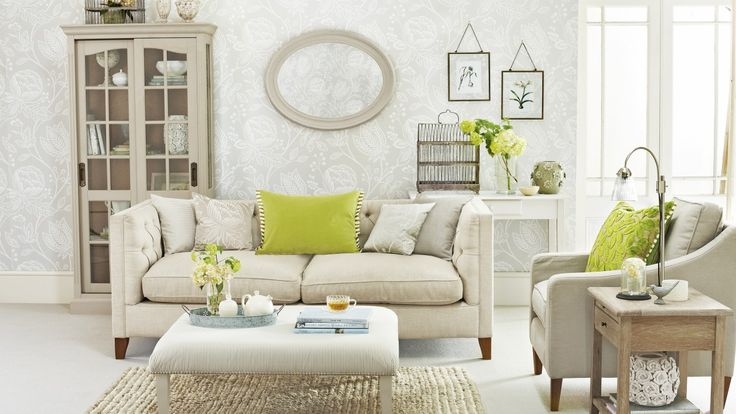 Add some pops of colour to reinvent a traditional room. Here the lime green cushions, lamp and fresh flowers give the room an instant update.