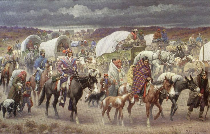 The Trail of Tears is a name given to the forced relocation and movement of Native American nations from southeastern parts of the United States following the Indian Removal Act of 1830. The removal included many members of the Cherokee, Muscogee (Creek), Seminole, Chickasaw, and Choctaw nations, among others in the United States, from their homelands to Indian Territory (eastern sections of the present-day state of Oklahoma) Many suffered and 4,000 of the 15,000 Cherokee died.