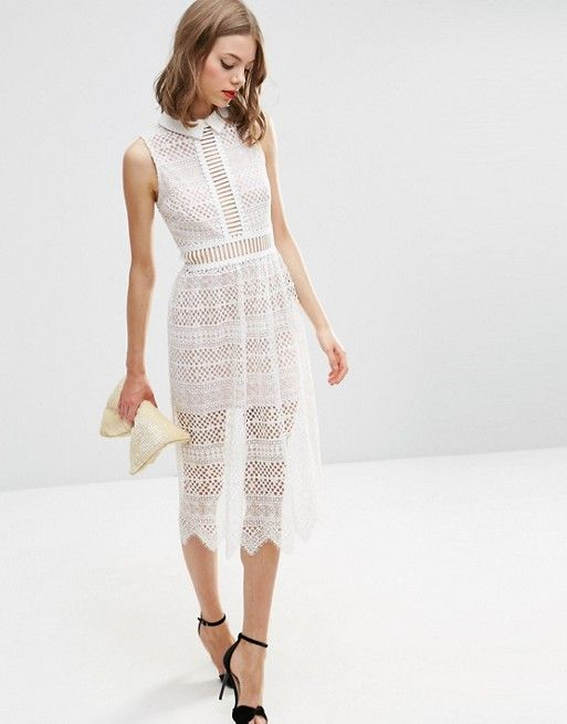 ASOS | ASOS Lace Collar Geo Lattice Midi Dress