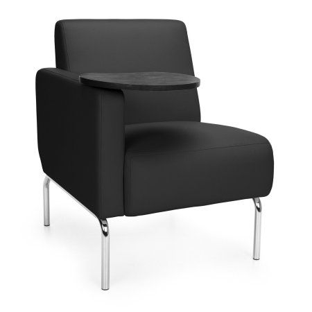 OFM Triumph Series Right Arm Modular Lounge Chair with Tablet, Polyurethane Seat and Chrome Feet, Beige
