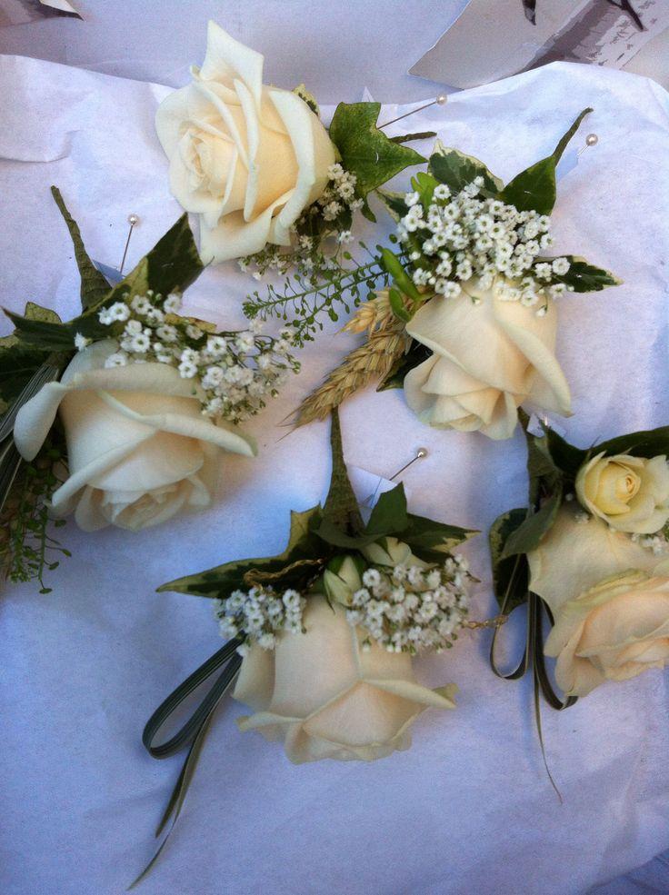 Vendella rose and gypsophila buttonholes