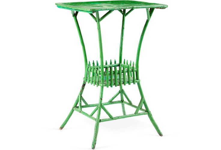 Faux-Bamboo Green Painted Table
