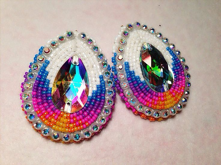Native American Beaded Earrings White Sunset Teardrop By