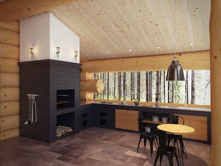 Гостиная совмещена с кухней, центром которой выступает панорамны вид из окна и действующий камин. Натуральные материалы подчеркивают стиль помещения.