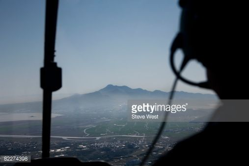 Stock Photo : View of Mt. Unzen from helicopter over Nagasaki.