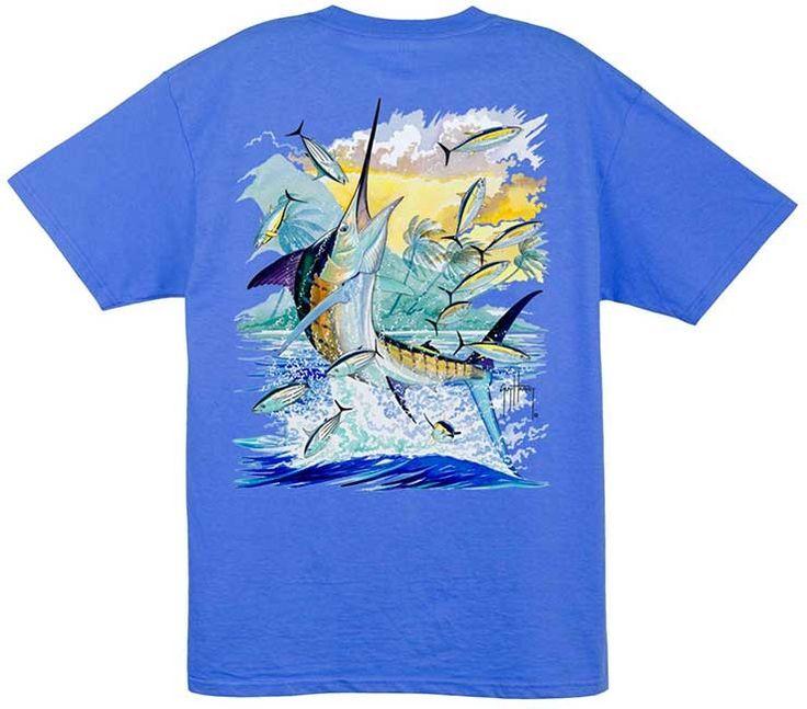 Guy Harvey Island Marlin Men 39 S Back Print Tee W Pocket In