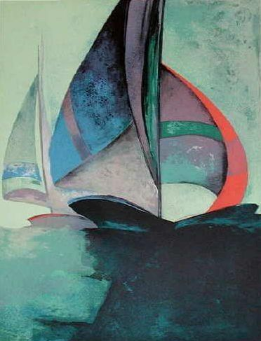 Claude Gaveau - two of my favorite things: sailboats and abstract paintings