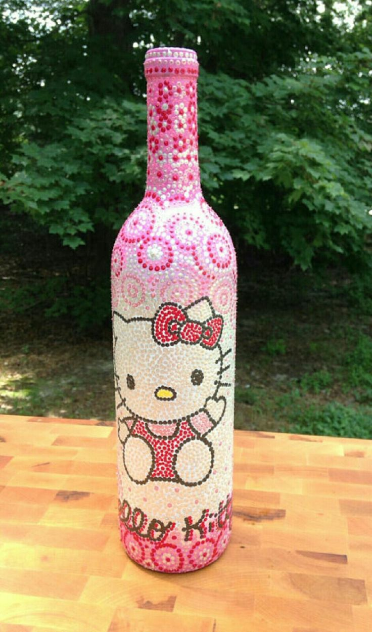 Hand painted decorative wine bottle Hello Kitty / by ImagineNew