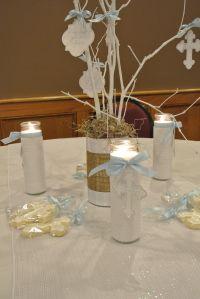 Lovely white branch baptism centerpiece