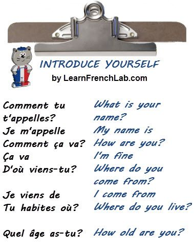 French Words translated in English with Free Audio Lessons. Learn how to introduce yourself and how to start a conversation in French.