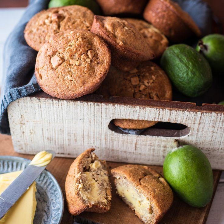 Feijoa, white chocolate & ginger muffins
