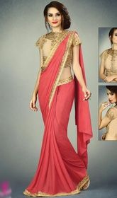 Red Color Embroidered Fancy Knit, Net and Raw Silk Sari #plussizesaree #cheapsarees Cast a spell over the masses dolled up in this red color embroidered net and raw silk sari. This gorgeous attire is displaying some superb embroidery done with lace and resham work. Upon request we can make round front/back neck and short 6 inches sleeves regular saree blouse also. USD $ 142 (Around £ 98 & Euro 108)