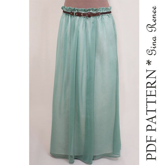 Super cute - must sew - Maxi Pattern. Womens Long Skirt Pattern. Maxi PDF pattern by GinaReneeDesigns, $9.00