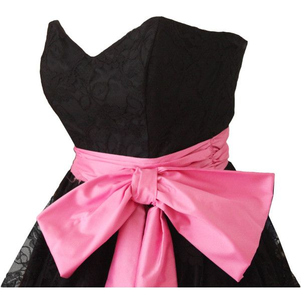 Vintage 50s Black Lace Full Skirt Dress w/ Pink Bow Accent at Waist... ($128) ❤ liked on Polyvore featuring costumes, pink costume, lace costume, pink ladies halloween costume, ladies halloween costumes and ladies costumes
