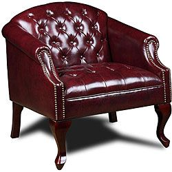 @Overstock - Boss Classic Traditional Button Tufted Club Chair - Add seating to your living room or home office with this classic-style tufted club chair. The stylish burgundy chair features a solid-wood frame with a dark-cherry finish, and the stud detailing on the arms adds a sophisticated touch. http://www.overstock.com/Office-Supplies/Boss-Classic-Traditional-Button-Tufted-Club-Chair/5337698/product.html?CID=214117 $245.99