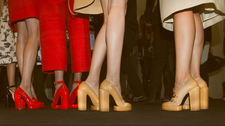 Loving the thick heels. | #PRFW | #SS13 | #Carven | #heels | #red | #mustard