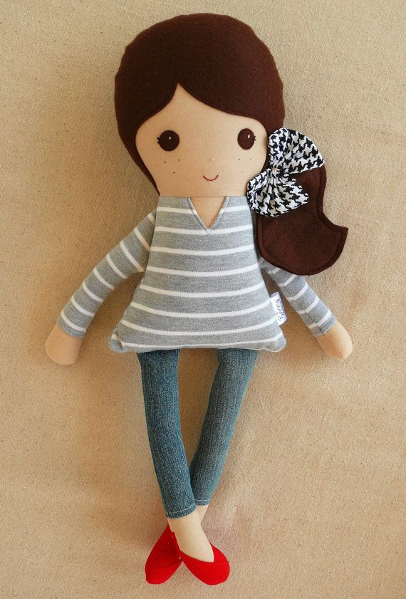 Fabric Doll Rag Doll Brown Haired  Girl in Gray Striped Top and Skinny Pants