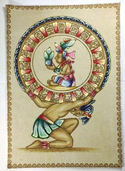Maya Kalender Pyrographie auf Leder von LaSombrilla auf DaWanda.com