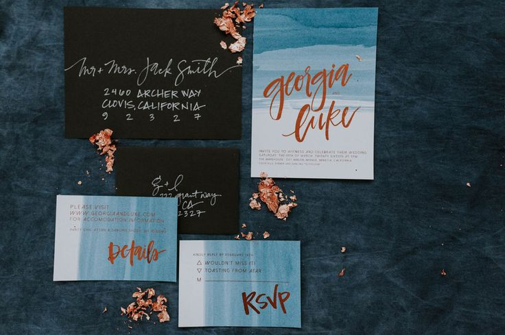 Industrial Copper and Indigo Invitations