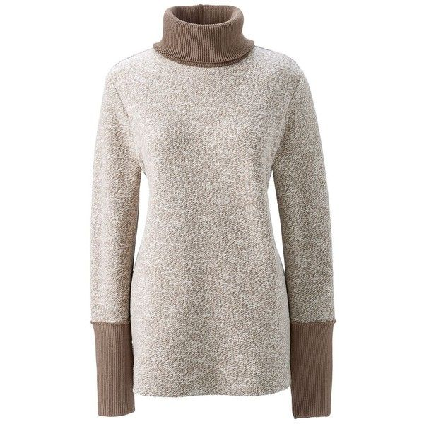 Lands' End Women's Petite Slouchy Turtleneck - Starfish ($69) ❤ liked on Polyvore featuring tops, sweaters, tan, slouchy turtleneck sweater, turtle neck top, lands end sweaters, turtle neck sweater and slouch sweater