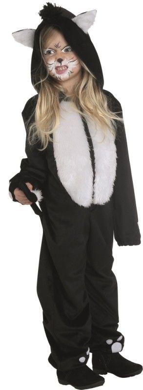 Ce déguisement chat enfant comprend la combinaison de chat noir et blanc à capuche avec oreilles de chat, dos avec queue de chat en tissu et fausse fourrure, carnaval, animaux, Halloween, fêtes.