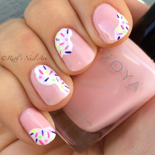 Sprinkled Frosting Nails #ruthsnailart #nailart