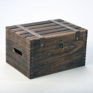 Dark Brown Hamper / Keepsake / Storage Box with Hinged Lid and Straps 35cm WBM1627 - Large Wooden Christmas Eve or Keepsake Boxes - Plain Wooden Boxes | The Wooden Box Mill
