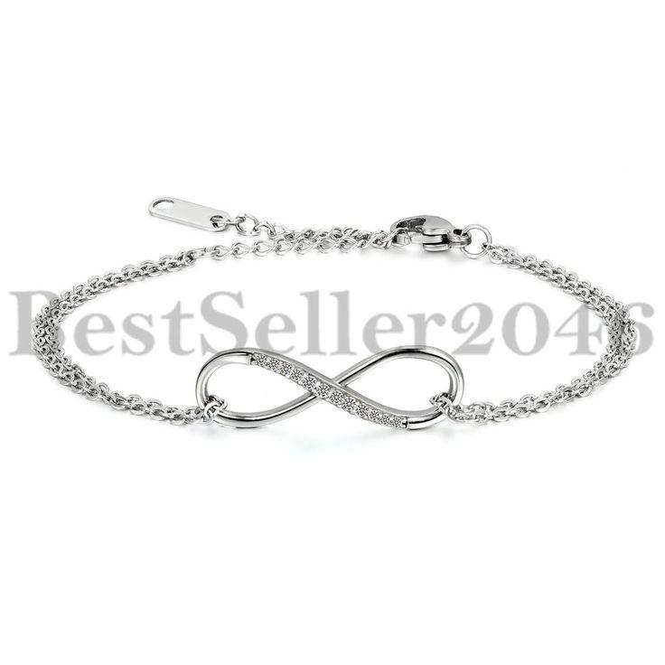 Edelstahl Armband Armreif Zirkon Zirkonia Silber Infinity Unendlichkeit Liebe