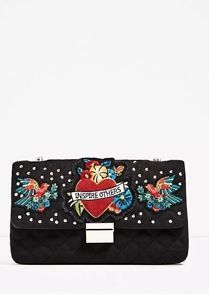 Zara Quilted Embroidered Crossbody Bag With Chain And Patch BNWT   | eBay