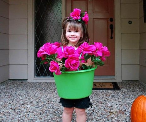 This darling little flower pot costume is super charming! Get some silk flowers from a craft store and a plastic pot, and you are set!  $6 at Clumsy Crafter