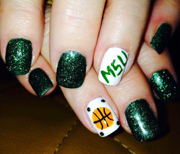 MSU basketball nail art