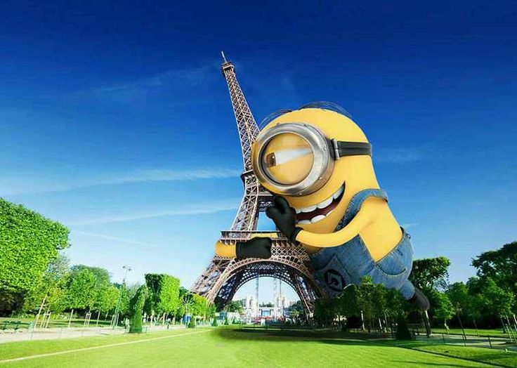 Giant minion's first love, the Eiffel Tower. Sorry there are no fire hydrants big enough.
