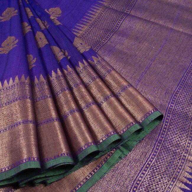 Shivangi Kasliwaal Blue Handwoven Banarasi Tussar Silk Saree With Floral Motifs 10008227 - profile - AVISHYA.COM