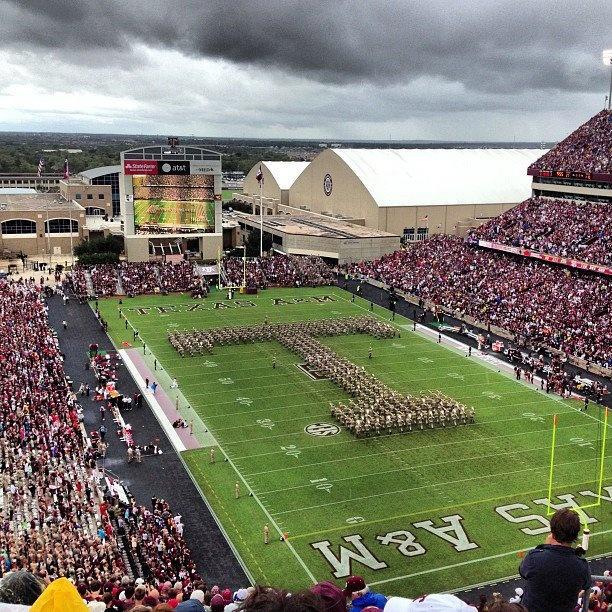 Aggie Band under the thunderheads; half-time v. Arkansas | September 29, 2012