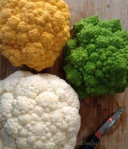 3 colour cauliflower ready for roasting