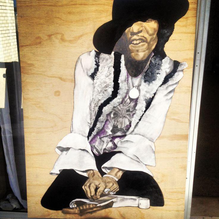Jimi Hendrix/  led pencil, acrylic paint and compound paste on ply wood  #ElememtEdenArtSearch #jamaicarose