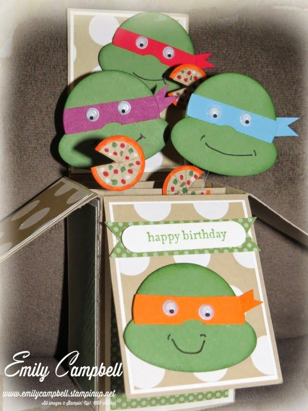Ninja Turtles card-in-a-box, with teeny pizza embellishments.  See it at Tiny Kiwi Cards.