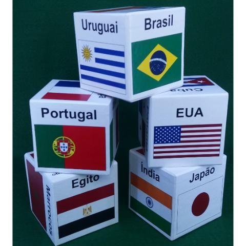 Cubos das Bandeiras (5, América do Norte, sul, África, Asia e Europa) .