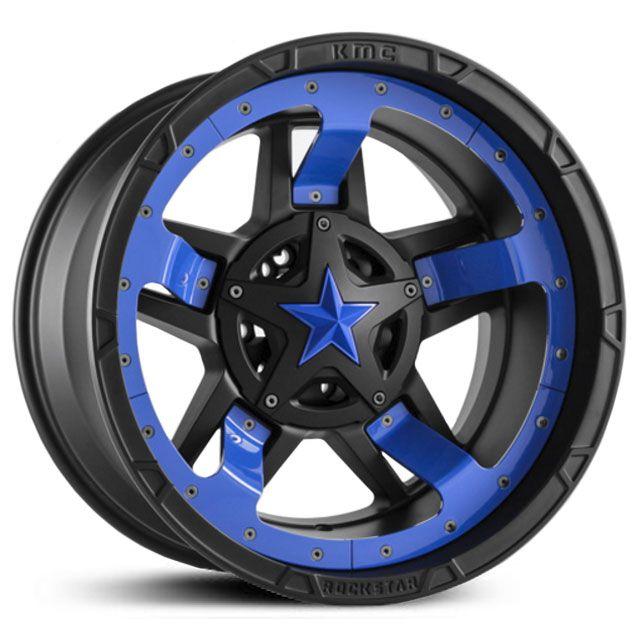 XD Series XD827 Rockstar 3 Matte Black Blue Midspoke Inserts & Blue Cap