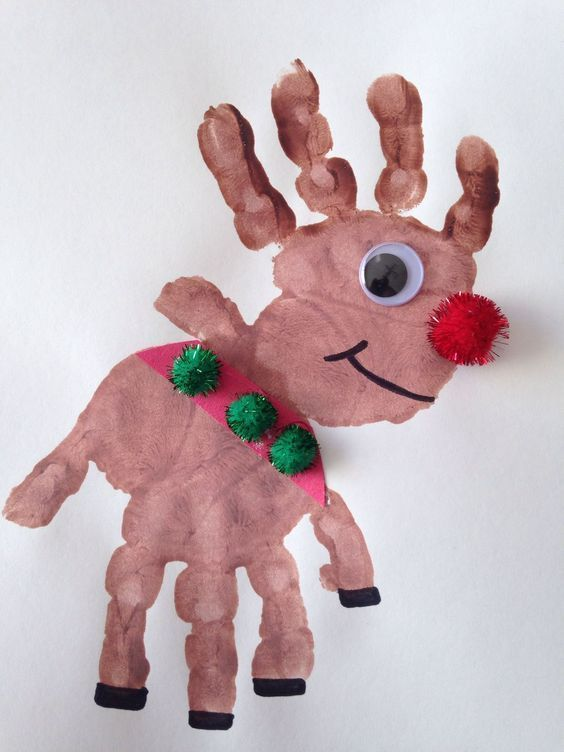 Two little hands dipped in paint make this adorable Christmas craft! The Pre-K kids will LOVE this craft idea!