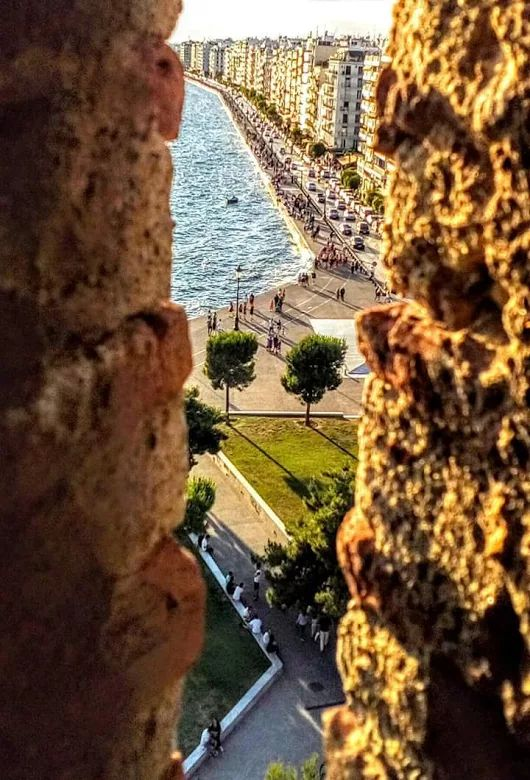 Thessaloniki through ancient city walls, historical Macedonia northern Greece