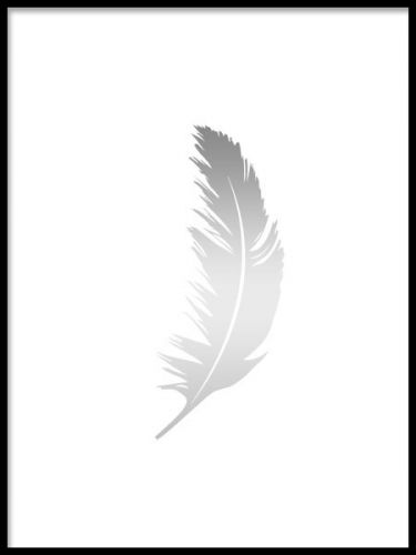 A beautiful and decorative graphical poster in silver with a feather. Simple and stylish print that gives your home a luxurious feeling. This silver print goes very well in a gallery wall with our art posters in black and white. Desenio.co.uk
