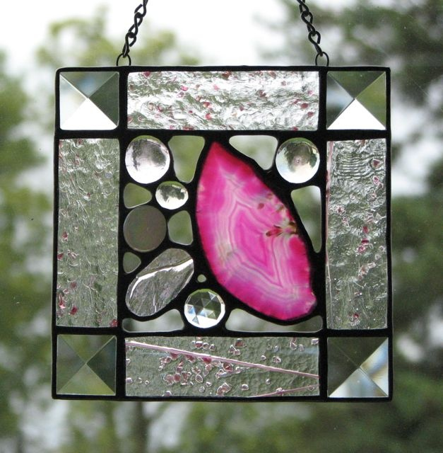 Agate and stained glass square by Barbara's Glassworks