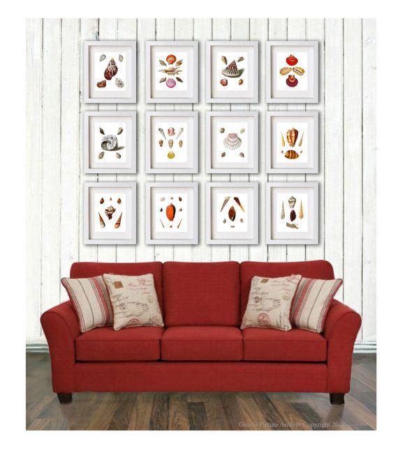 seashells home decor art set of 12 prints beach theme living room decor wall hanging 8x10