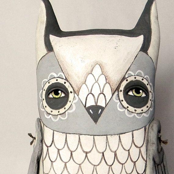 White Owl Contemporary Folk Art Doll by cartbeforethehorse on Etsy, $110.00